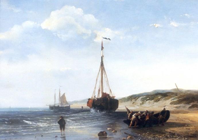 Désiré Donny  Vissersboten bij eb, olie op paneel 25,4 x 35,2 cm Collectie Simonis & Buunk