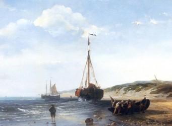 schilderij Désiré Donny Vissersboten bij eb
