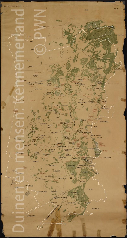 kaart kennemerduinen JacPThijsse 1940 met gebiedsgrens