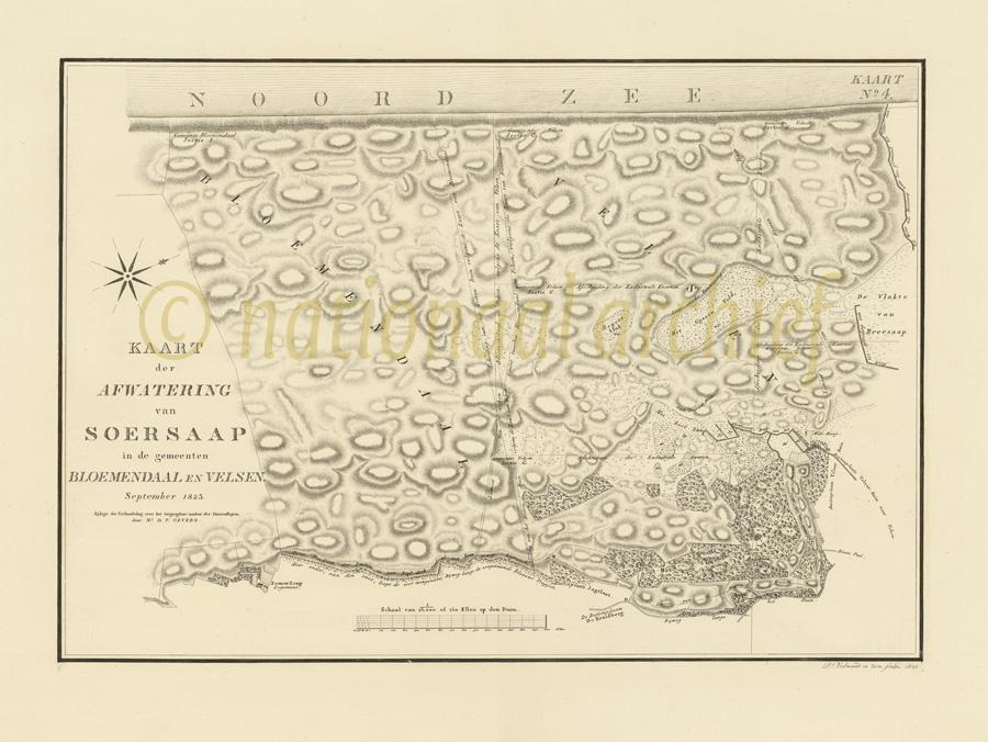 nationaal archief kaart gevers 1823 4.ZHPB4_69_4 bloemendaal velsen