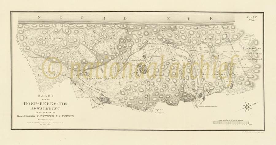 Nationaal Archief kaart van Gevers Heemskerk-Castricum-Egmond