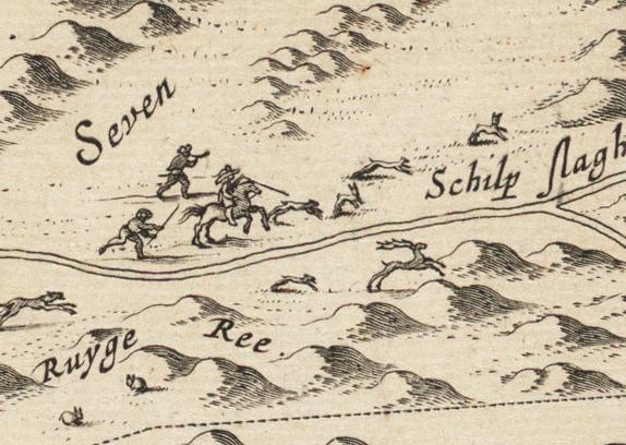 Jacht duinen Bergen bij Blaeu ca 1660