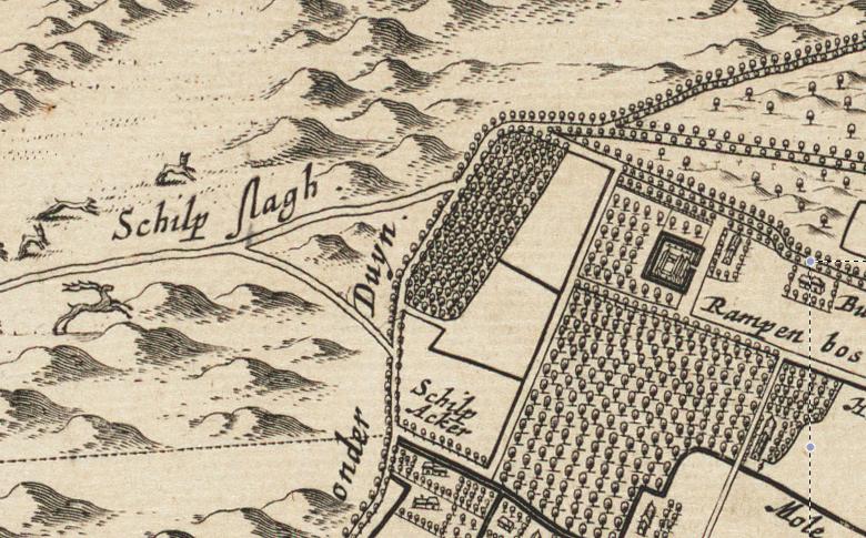 Schulpweg duinen Bergen bij Blaeu ca 1660
