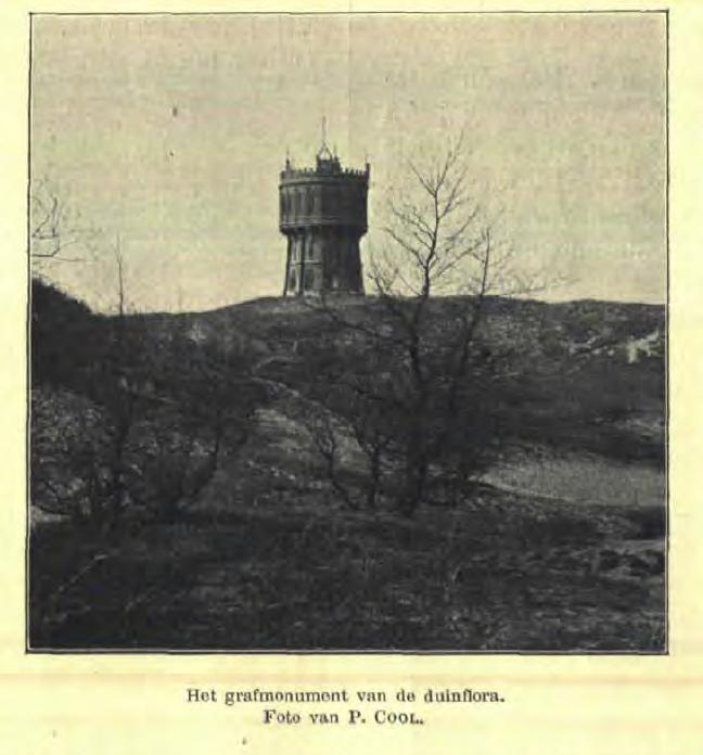 """""""Het grafmonument van de duinflora."""" Foto van de watertoren Overveen van P.Cool"""