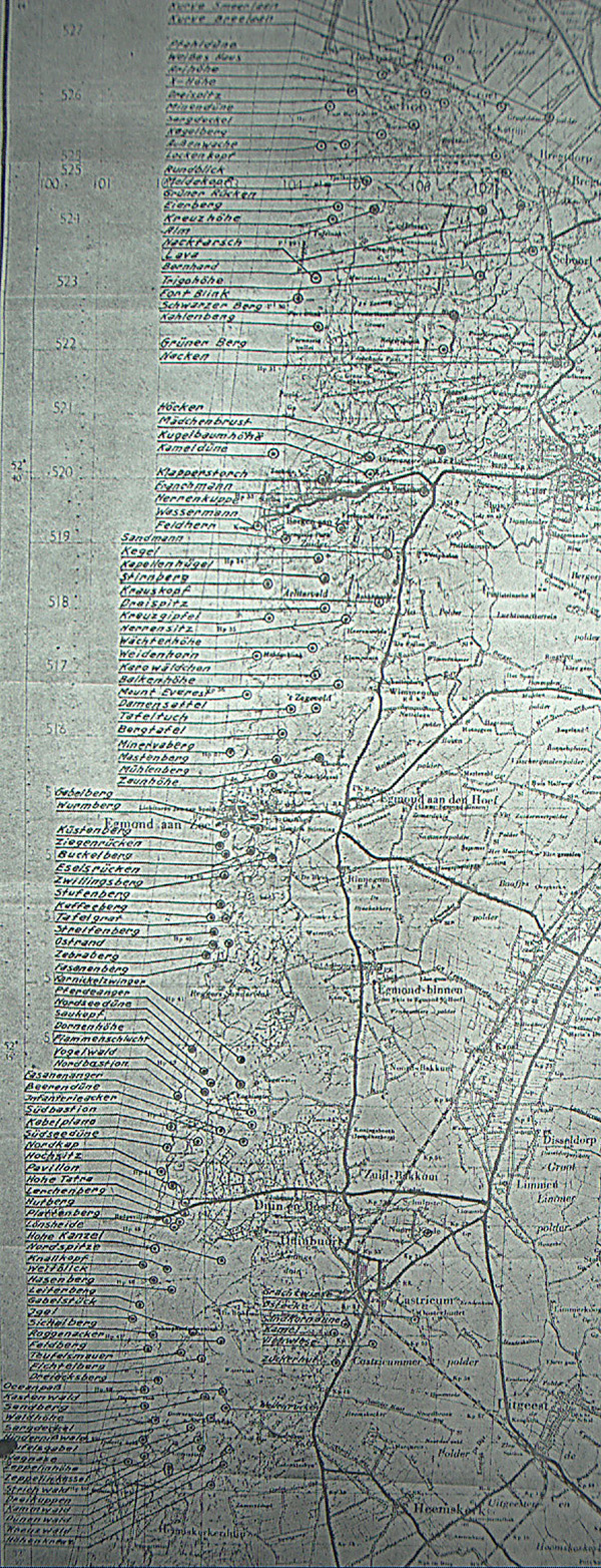 staf kaart noordkennemerland met duitse namen voor duintoppen