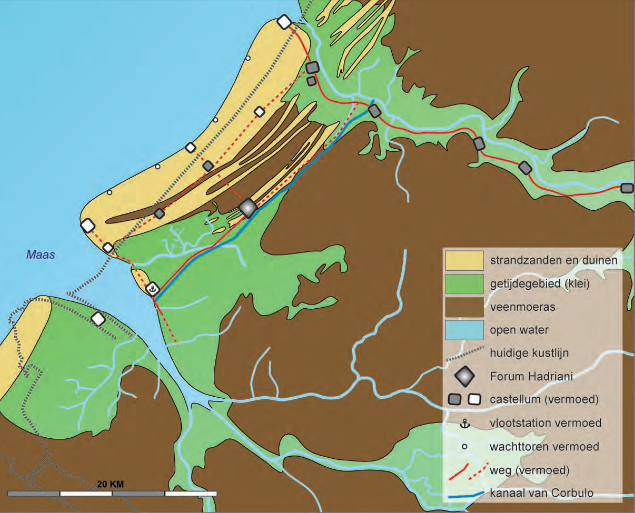 De kust tussen Maas en Rijn in de Romeinse tijd. (A. Waasdorp)