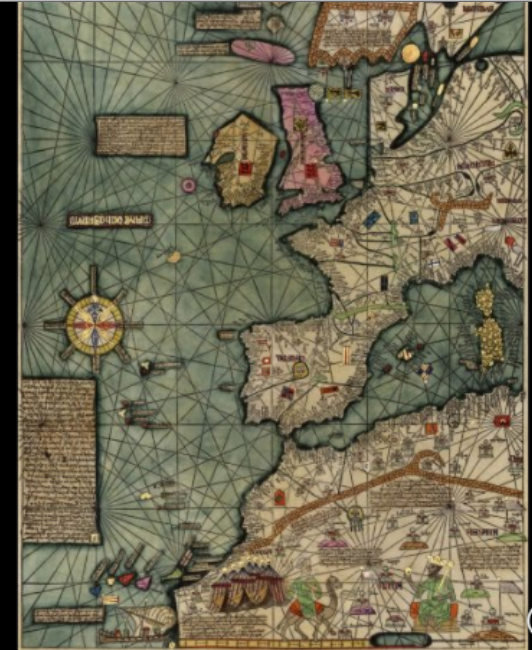 kaart 1375 Mappa Mundi, toegeschreven aan Abraham Cresques