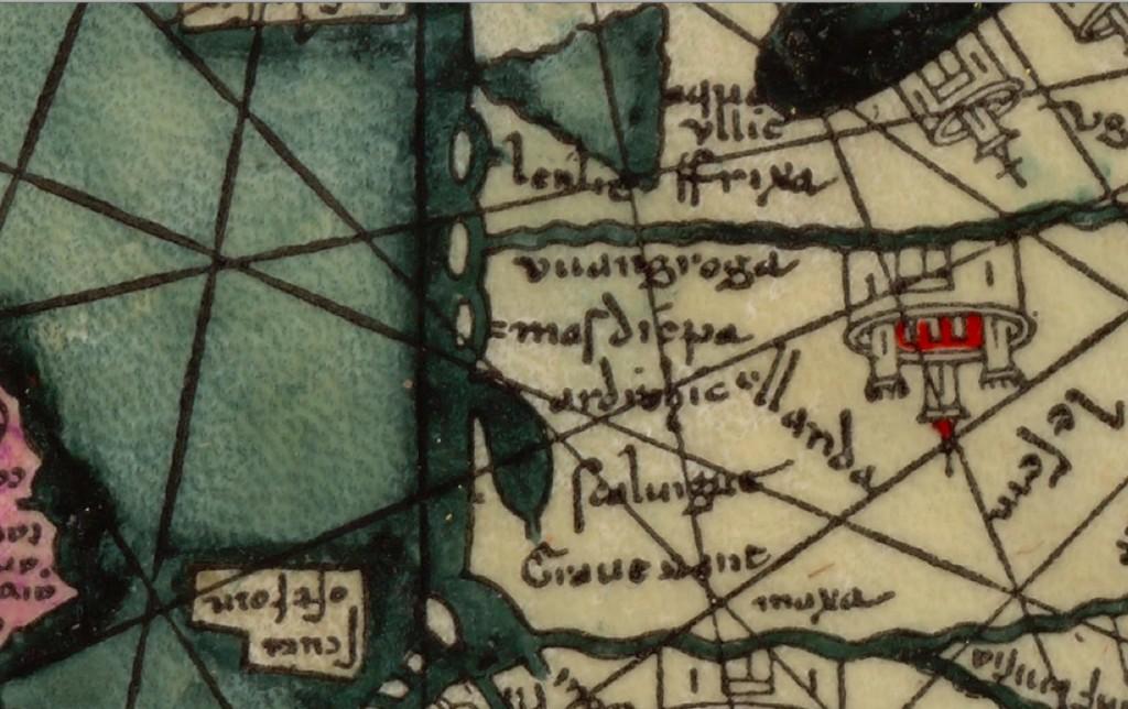 Kaart detail 1387 OLLANDA met o.a. Harderwijk en Marsdiep; toegeschreven aan Abraham Cresques