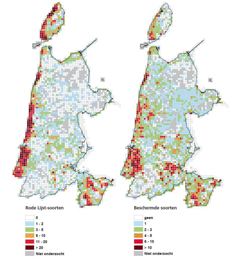 kaart NH soortenrijkdom en rodelijstsoorten flora