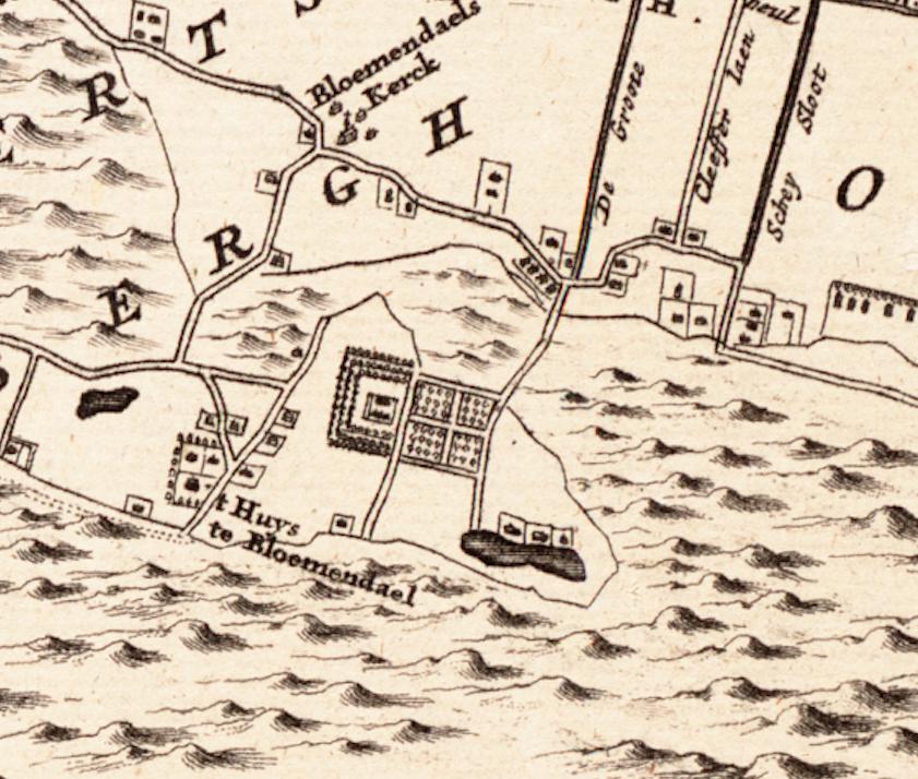 wfa westfries archief his kaart J.Dou 1660 1V47 detail bloemendaal detail