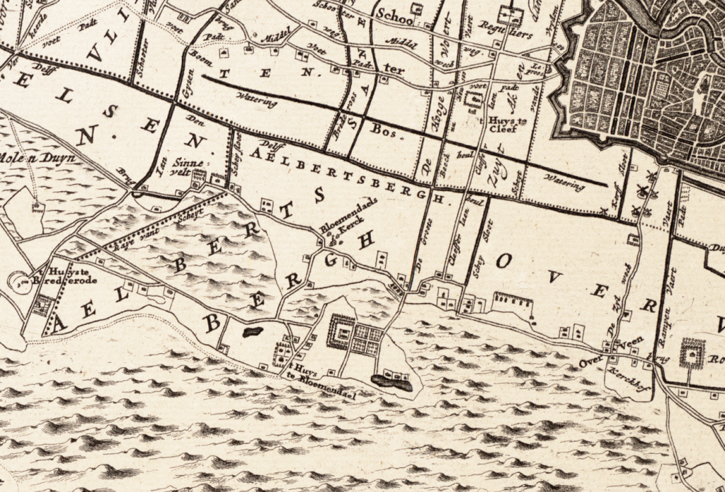 Kaart J.Dou 1660 waf (Westfries Archief) 1V47 Uitsnede Bloemendaal e.o.