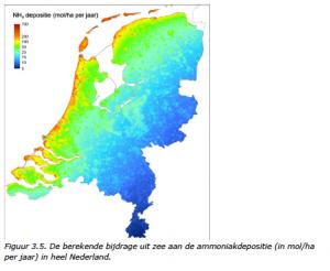 Figuur 3.5. De berekende bijdrage uit zee aan de ammoniakdepositie Bron: Rijksinstituut voor Volksgezondheid en Milieu (RIVM), 2014
