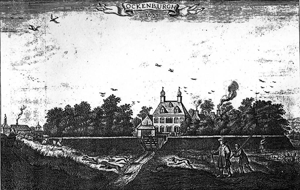 Het eerste landhuis Ockenburgh met op de voorgrond de Zwarte (oude) Duinen