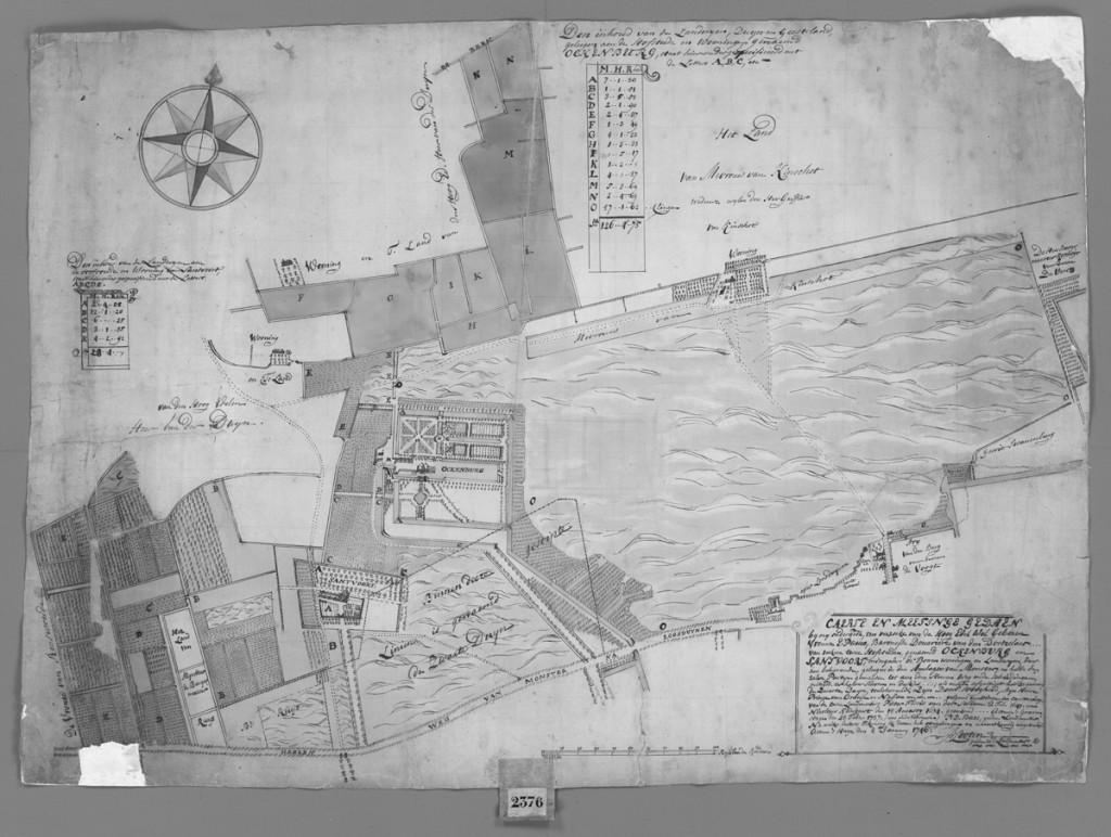 Kaart van Santfort en Ockenburg uit 1746 (landmeter P. Looten)