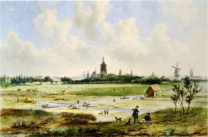 18e Eeuws landschap  Zicht op Den Haag vanuit Het Kleine Veentje Het Segbroek lag een duinrij verder,  maar was vergelijkbaar.  Aquarel van B.J. van Hove