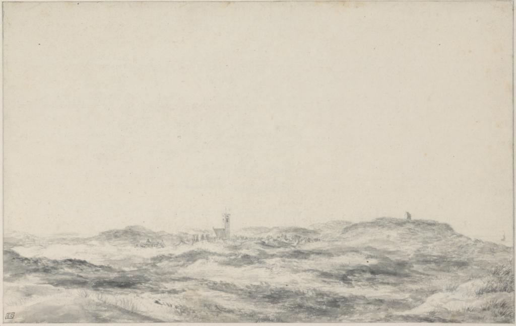 Wijk aan Zee door J. van Ruisdael 1660-1670 Fondation Custodia, Collection Frits Lugt, Parijs; Penseel in grijs zwart krijt