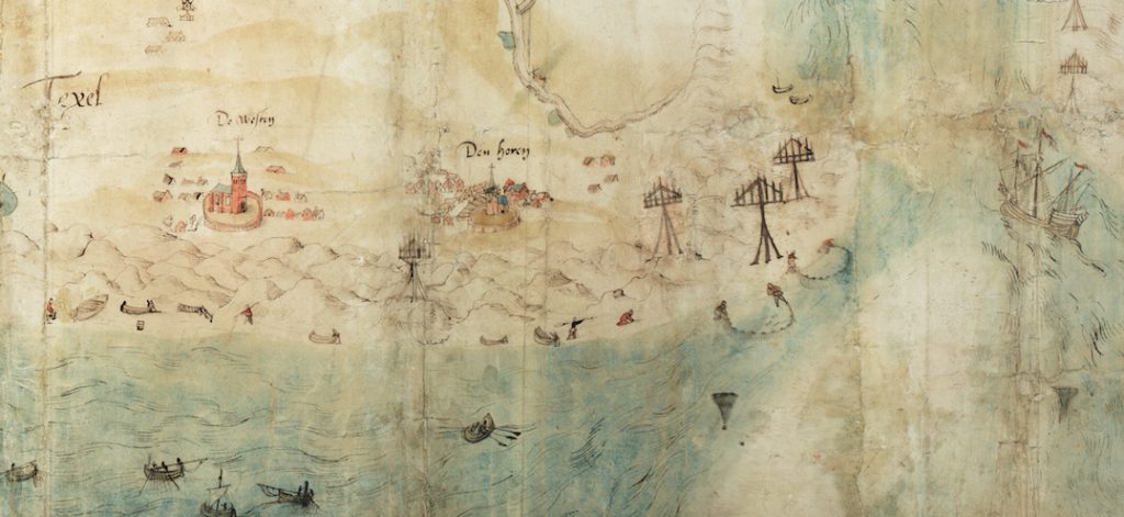 Jan van Scorel ca 1552 detail Texel met open duinlandschap en verdwenen dorp de Westen
