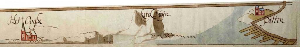 Jan van Scorel ca 1550 detail kaart Nova Roma Hingman 2473 rijksarchief detail Ketelduinen kust
