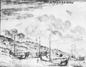 tekening Stopendael 1795 Vuurbaak en bomschuiten Wijk aan Zee