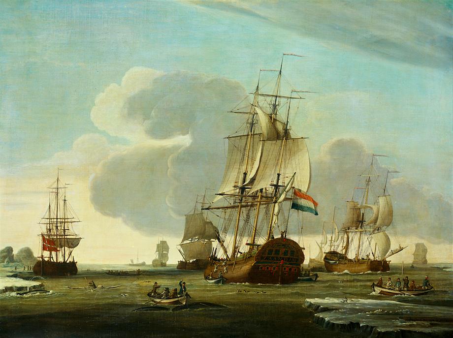 Walvisvangst met fluitschepen zoals hier de Zaandam van reder Claas Taan, schilderij van J. de Vries, 1772, Rijksmuseum Amsterdam
