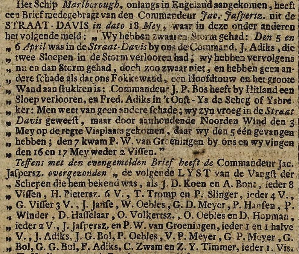 Fragment Leydse Courant, 23 juni 1777