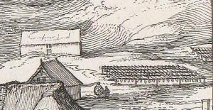 Claes Jansz Visscher Gezicht op Egmond aan Zee, 1615, ets en droge naald, 32,7 bij 57,9 Amsterdam Rijksmuseum inv.nr. RP-P-OB-80.803 detail cf visdrogerij?
