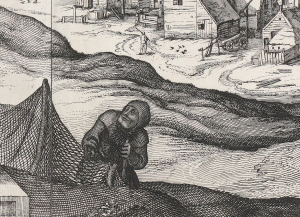 Claes Jansz Visscher Gezicht op Egmond aan Zee, 1615, ets en droge naald, 32,7 bij 57,9 Amsterdam Rijksmuseum inv.nr. RP-P-OB-80.803 detail nettenboetster