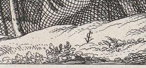 Claes Jansz Visscher Gezicht op Egmond aan Zee, 1615, ets en droge naald, 32,7 bij 57,9 Amsterdam Rijksmuseum inv.nr. RP-P-OB-80.803 detail vegetatie met paraaf tekenaar