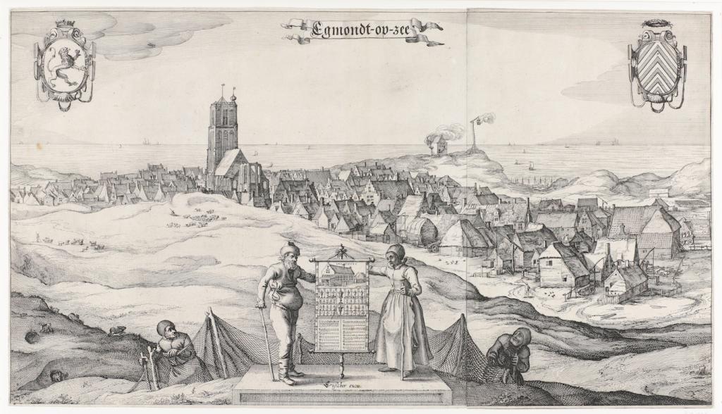 Claes Jansz Visscher Gezicht op Egmond aan Zee, 1615, ets en droge naald, 32,7 bij 57,9 Amsterdam Rijksmuseum inv.nr. RP-P-OB-80.803 low res