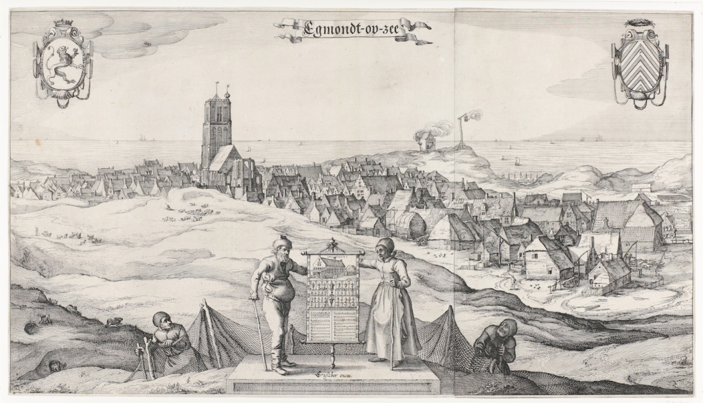 Visscher: Gezicht op Egmond aan Zee, 1615