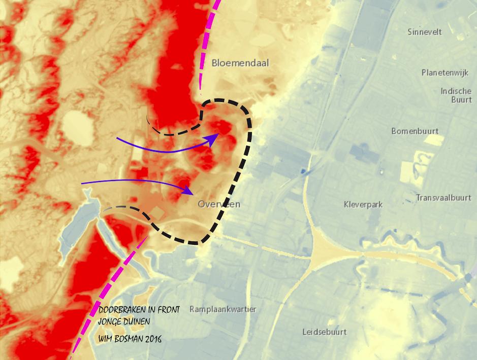 Front Jonge Duinen Zuid-Kennemerland met doorbraak ten zuiden van Bloemendaal; hoogtes AHN; tekenwerk Wim Bosman, Santpoort-Zuid