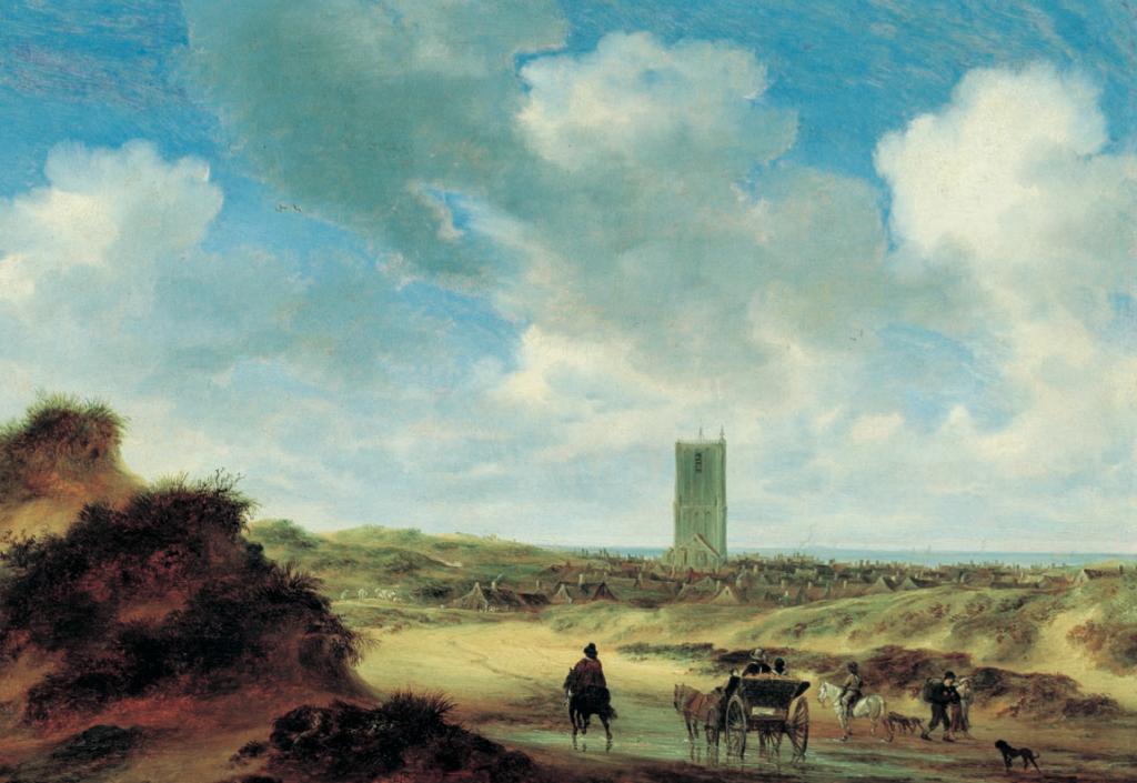 Salomon van Ruysdael: Strandgezicht bij Egmond aan Zee, ca 1645-1650. Een welvarend gezelschap in een kaal duin op weg naar het dorp dat toen relatief rijk was dor de uitstekende afzetmarkt in het achterland.