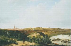 1860 Aan de voet van het Belvedèreduin wordt het kanaal naar Scheveningen gegraven. Schilderij van Hermanus Welsink