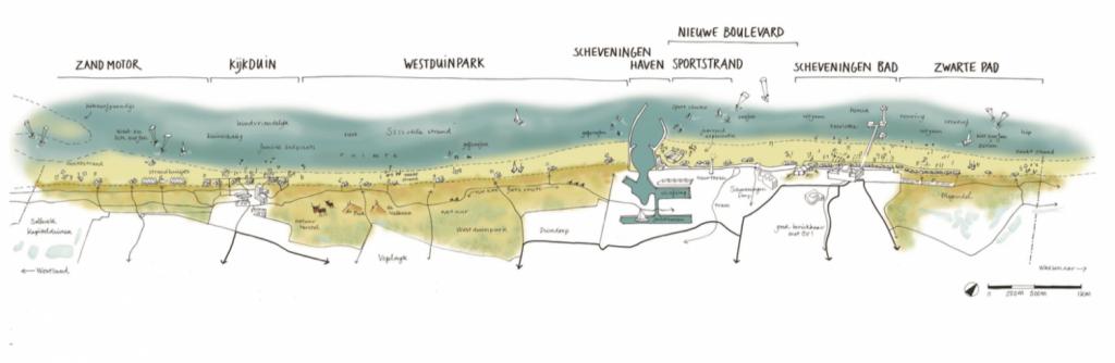 Het strand van Den Haag tussen Kijkduin (links) en Scheveningen (rechts)